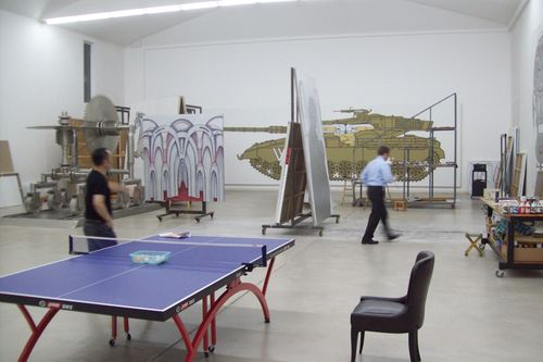 in wang luyan's studio on the outskirts of beijing