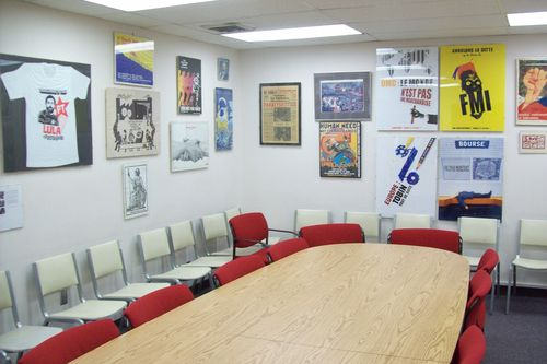 seminar room with political graphics