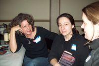 rozalinda and amy talking politics with elena herrada