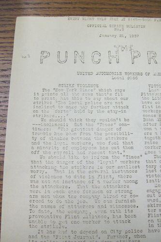punch press, flint sit-down strike bulletin